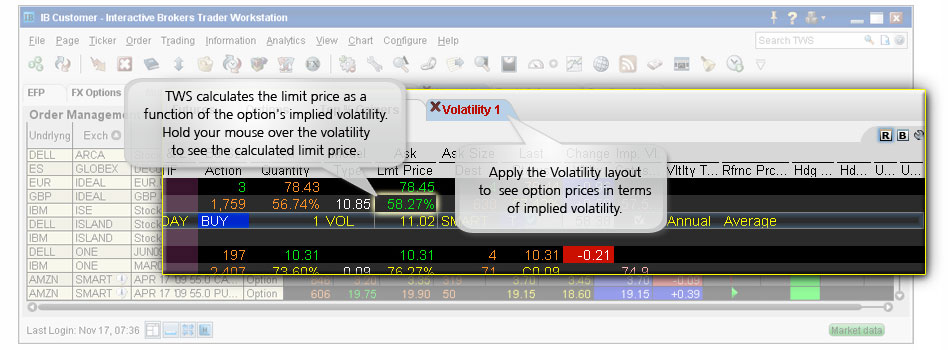 Volatility Orders example
