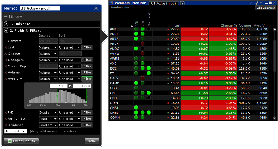 Option trading scanner