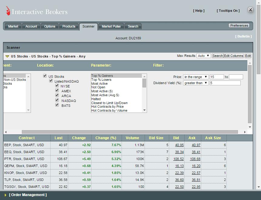 Interactive brokers options scanner