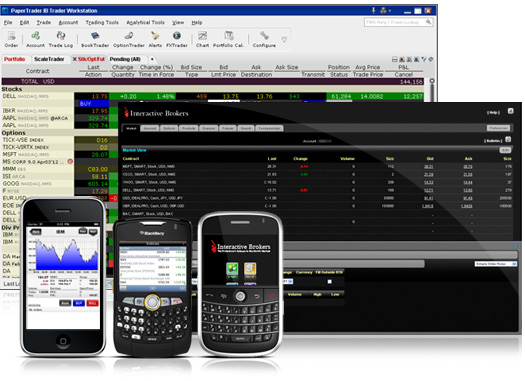 Whether you prefer a clean and simple interface,require more sophisticated fully customizable trading tools and enhanced speed or want to trade on-the-go can use one of our mobile solutions, including mobileTWS for iPhoneTM, TWS for Blackberry® and MobileTrader