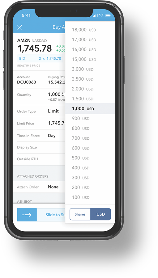 fractional trading iphone